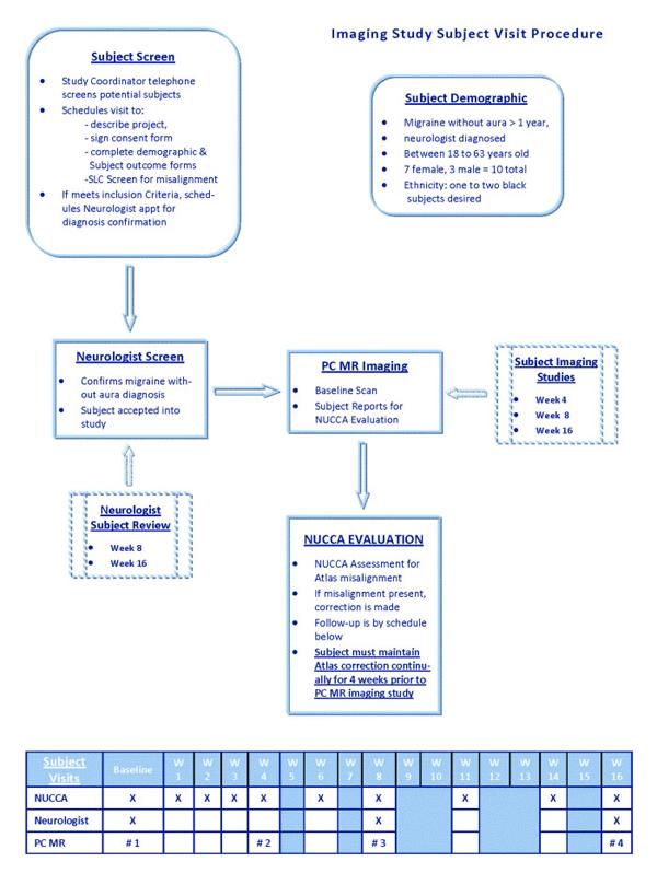Procedure outline for atlas chiropractic migraine study
