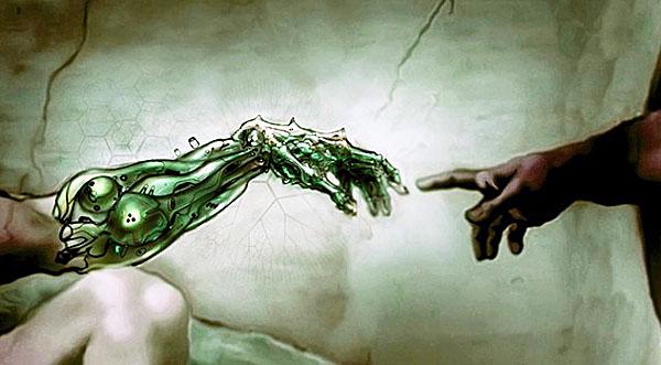 roboticized Creation of Adam rendition